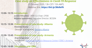 CPDE RESEARCH STUDY ON EVIDENCING EFFECTIVENESS IN COVID-19 RESPONSE: Webinar: Case study on Effectiveness in Covid-19 Response (Albania and Armenia)
